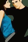 男女名媛0018,男女名媛,卡通人物,情侣 展示 专注 亲密 坐姿