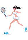 网球0010,网球,卡通人物,跨步 侧身 白裙 露腰 苗条