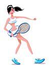 网球0013,网球,卡通人物,准备 接球 认真 护腕 跑动
