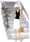 逛街购物0012,逛街购物,卡通人物,楼梯 礼帽 提包 小蛮腰 遮挡
