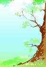 矢量背景素材0272,矢量背景素材,底纹,大树根 绿叶 蓝天