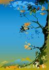 矢量背景素材0274,矢量背景素材,底纹,冷调 金黄色的叶子 深邃的天空