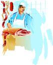 矢量背景素材0299,矢量背景素材,底纹,肉类 厨师 厨房
