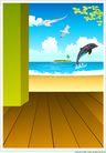 外界风景0215,外界风景,时尚卡通,海豚 海景