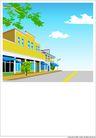 外界风景0217,外界风景,时尚卡通,房屋 临街建筑 树枝