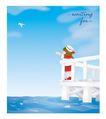 外界风景0227,外界风景,时尚卡通,护栏 小女孩 看海