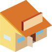 建筑卡通0300,建筑卡通,时尚卡通,红顶房子 模型 家庭