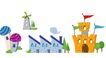 建筑风景0104,建筑风景,时尚卡通,城堡 旗帜 卡通