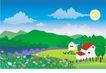 建筑风景0122,建筑风景,时尚卡通,村落 房子 花园 太阳 青山