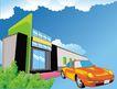 建筑风景0124,建筑风景,时尚卡通,车子 商场 玻璃门 绿色 建筑