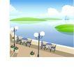 建筑风景0125,建筑风景,时尚卡通,路灯 海 雅座 帆船 水景
