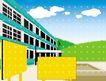 建筑风景0134,建筑风景,时尚卡通,指示牌 三层楼 楼房 环境 绿化