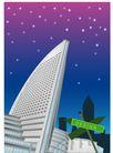 建筑风景0153,建筑风景,时尚卡通,紫色夜空