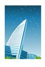 建筑风景0156,建筑风景,时尚卡通,白色大楼 蓝色天空