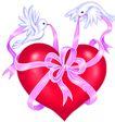 爱心礼物,恭贺庆典,时尚卡通,白鸽 大红心 丝带