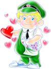 男孩,恭贺庆典,时尚卡通,邮递员 传递 爱心