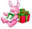 礼物,恭贺庆典,时尚卡通,布偶 粉红 小兔