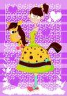 马,恭贺庆典,时尚卡通,骑木马 动物 矢量图
