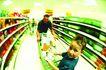 购物场景0071,购物场景,生活,超市 小朋友 选购