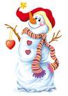 欢乐圣诞插画0016,欢乐圣诞插画,静物,雪人 围巾 笑脸 树枝 冬天