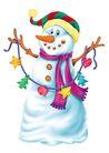 欢乐圣诞插画0020,欢乐圣诞插画,静物,雪人 围巾 堆积
