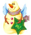 欢乐圣诞插画0027,欢乐圣诞插画,静物,雪人 五角星 饰物