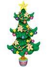 欢乐圣诞插画0030,欢乐圣诞插画,静物,圣诞树 小熊 挂饰物
