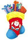欢乐圣诞插画0035,欢乐圣诞插画,静物,礼物 袜子 袜筒