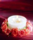 温馨烛光0005,温馨烛光,静物,鲜花 玫瑰 甜蜜 烛光 花环