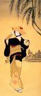 东洋仕女0002,东洋仕女,中国国画,斗笠 女性 和服