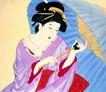 东洋仕女0006,东洋仕女,中国国画,纸伞 天气 遮挡