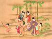 东洋仕女0010,东洋仕女,中国国画,竹林 嬉戏 玩耍 孩童 家眷