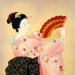 东洋仕女0011,东洋仕女,中国国画,舞女 回眸 折扇 发髻 服饰