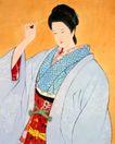 东洋仕女0013,东洋仕女,中国国画,梳妆 装扮 打扮 发簪 头饰