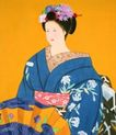 东洋仕女0014,东洋仕女,中国国画,端坐 腰带 花纹 端庄 气质