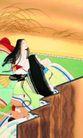 东洋仕女0018,东洋仕女,中国国画,屏风 长发 观赏 谈论 风景