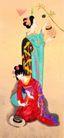 东洋仕女0019,东洋仕女,中国国画,昆虫 捕捉 灯笼 夜晚 害怕