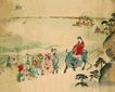 东洋仕女0029,东洋仕女,中国国画,骑马 出行 侍从