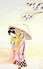 东洋仕女0032,东洋仕女,中国国画,日本女人 手举纸伞