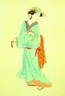 东洋仕女0036,东洋仕女,中国国画,回头观望 古代女人