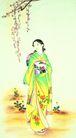 东洋仕女0037,东洋仕女,中国国画,美女 花朵 花枝