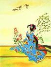 东洋仕女0039,东洋仕女,中国国画,坐着 衣饰 飞鸟