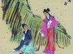 人物-综合0007,人物-综合,中国国画,小鸟 构图 约会 芭蕉叶 情投意合