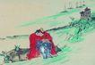 人物-综合0011,人物-综合,中国国画,江边 帆船 码头 等待 孤单