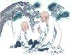人物-综合0016,人物-综合,中国国画,和尚 讲故事 传说 寺庙 古树