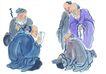 人物-综合0019,人物-综合,中国国画,拐杖 私塾 教育 交流 切磋