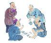 人物-综合0021,人物-综合,中国国画,老翁 喝酒 聊天