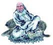 人物-综合0031,人物-综合,中国国画,男性 老人 盘腿