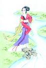 人物、待女、童戏0001,人物、待女、童戏,中国国画,河边 河畔 小溪 美女 古代女装