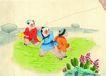 人物、待女、童戏0005,人物、待女、童戏,中国国画,玩耍 放风筝 游戏 小孩 孩童